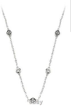 Harley-davidson Women's Bar & Shield Silver Chain Hdn0386-14adj