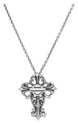Harley-davidson Women's Necklace, Bar & Shield Filigree Cross, Silver Hdn0256