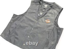 Hommes Cuir Harley Davidson Gilet Bouclier 4xl Barre Noire Stock Orange Happer Nwt