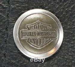 Hommes Cuir Harley Davidson Veste M L Piston Noir Dentelle II Happer Bouclier Bar