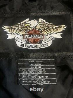 Hommes Harley Davidson Chemise En Cuir Veste 2xl Noir Barre Shield Snap