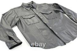 Hommes Harley Davidson Chemise En Cuir Veste 2xl Noir Barre Shield Snap 98111-98vm