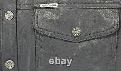 Hommes Harley Davidson Chemise En Cuir Veste XL Noir Barre Shield Snap 98111-98vm