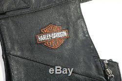 Hommes Harley Davidson Cuir Chaps XL Noir Stock 98090-06vm Barre De Protection Non Coupée