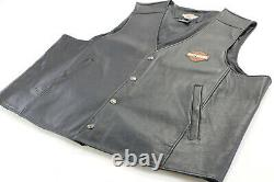Hommes Harley Davidson Gilet En Cuir 4xl Noir Orange Stock Bar Bouclier Snap Up Nwt
