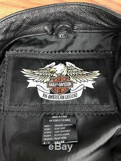 Hommes Harley Davidson Noir Bar Shield Veste En Cuir XL 98112-06vm Extra Large