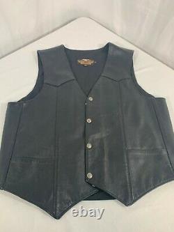 Hommes Harley Davidson Veste En Cuir L Black Basic Skins Rider Snap Bar Shield