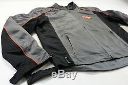 Hommes Harley-davidson Veste Maille Polyester L Armure Gris Orange Zip Bouclier De Bar
