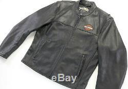 Hommes Veste En Cuir Harley Davidson 2xl Stock 98112-06vm Bouclier Barre Noire Zip