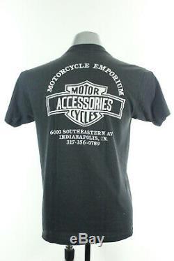 L Vtg 1991 3d Emblème Harley Davidson Bar & Shield Motard USA T-shirt