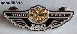 Limitee Harley Davidson 2003 - 100ème Broche Bar & Shield En Argent Sterling Silver