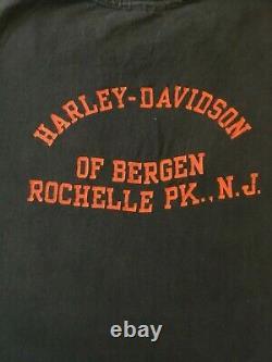 Logo Harley Davidson Vintage Bar And Shield, New Jersey Biker T-shirt 80's XL