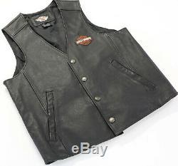 Mens Cuir Harley Davidson Gilet L Bouclier Noir Barre D'actions Orange Accrochage 98150-06
