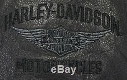 Mens Cuir Harley Davidson Gilet Pare-bar Noir 3xl Pression XXXL Col Pebbled