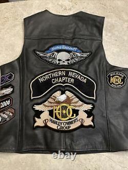 Mens Harley Davidson Gilet En Cuir XL Bouclier De Barre Orange Noir S'enclencher