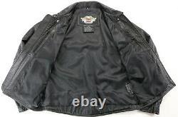 Mens Harley Davidson Pebbled Leather Jacket XL Black Embossed Bar Shield Zip Euc