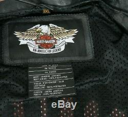 Mens Harley Davidson Veste En Cuir Noir Barre Gaufrée Bouclier Ventilé Sz 3xl