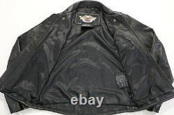 Mens Harley Davidson Veste En Cuir S Noir Open Road Embossed Bar Bouclier Zip