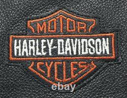 Mens Harley Davidson Veste En Cuir XL Bouclier De Barre Orange Noir Bar Snap Up Nwt
