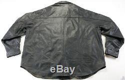 Mens Harley Veste Chemise En Cuir Davidson 2xl Bouclier Barre Noire 98111-98vm Mange-tout