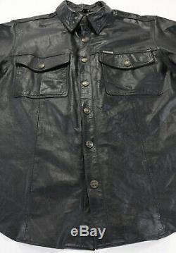 Mens Harley Veste Chemise En Cuir Davidson L Bouclier Bar Noir Accrochage 98111-98vm Zip