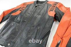 Mens Harley Veste En Cuir Davidson L Orange Noir Perforé Bar Shield Zip Euc