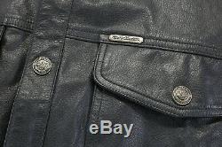 Mens Veste Harley Chemise En Cuir Davidson L Bouclier Barre Noire Enclenchent 98111-98vm