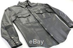 Mens Veste Harley Chemise En Cuir Davidson M Bouclier Barre Noire 98111-98vm Mange-tout