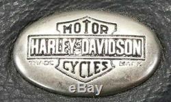 Mens Vintage Harley Veste En Cuir M Davidson Café Noir Peaux De Base Bouclier Bar