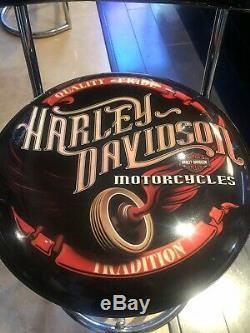 Mint Authentique Harley-davidson Vintage Bar & Shield Tabouret De Bar Avec Dossier