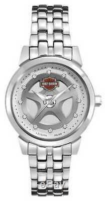 Montre Bulova 76l160 Pour Femmes Harley-davidson Bling Bar & Shield Steel Pour Femmes