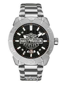 Montre Harley Davidson Mens Watch, Estampées Bar & Shield En Acier Inoxydable