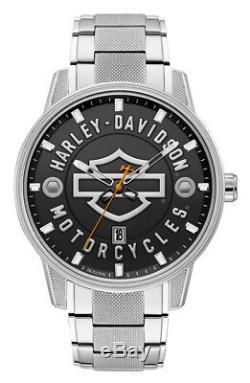 Montre Harley-davidson Pour Homme En Acier Inoxydable Avec Barre Ouverte Et Blindage, Argent 76b182