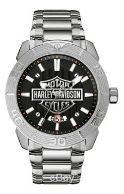 Montre Harova-davidson Bulova Pour Hommes, Bar Et Logo En Relief En Acier Inoxydable 76b169