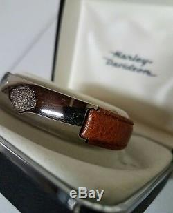 Nouveau Bracelet En Cuir Harley-davidson Stamper Avec Barre De Titane Et Le Bouclier, # 112