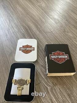 Nouveau Briquet Zippo Harley Davidson -brass Bootstrap -bar And Shield -200hd H215