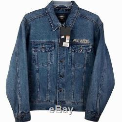 Nouveau! Harley-davidson Denim Trucker Jacket Mens Moyenne Bleu Jean Barre De Blindage M
