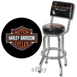 Nouvelle Licence Harley-davidson Bar & Shield Logo Tabouret De Bar Avec Hdl-12204 Du Dossier