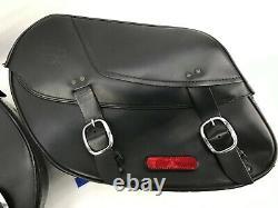 Oem Harley-davidson Dyna Bar Et Shield Rigid Mount Leather Saddlebags