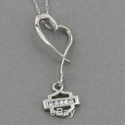 Or Blanc 10k Stamper Harley Davidson Diamond Bar & Shield Logo Collier Coeur
