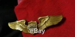 Rare 40s 30s Vintage Or Harley Davidson Ailes Pin Bar & Shield Motorcycle