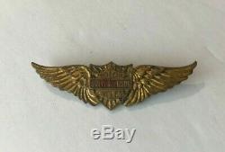 Rare 40s Vintage Or Harley Davidson Ailes Pin Bar Bouclier Crest Chapeau De Moto
