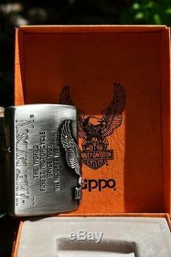 Rare Briquet Japonais Zippo Harley Davidson Barre Et Bouclier Aigle Japonais
