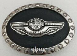 Rare Harley Davidson 1903-2003 Boucle De Ceinture Du 100e Anniversaire