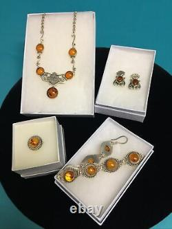 Rare Harley Davidson Boucles D'oreilles Sterling Real Amber Bar & Shield Collier Set Plus