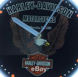 Rare Harley Davidson Horloge Murale D'eagle Bar & Shield Neon Light Modèle Spr-89 Travaux