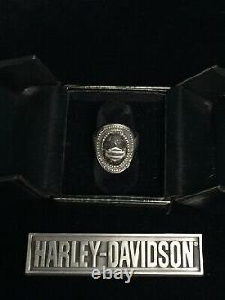 Rare Harley Davidson Legend Sterling 925 Lava Rock Bar & Shield Ring Size 7 Mod