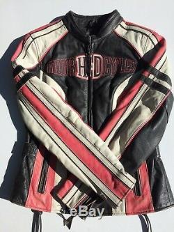 Rare Harley Davidson Ridgeway En Cuir Rose Veste Grand Bar Bouclier Féminin
