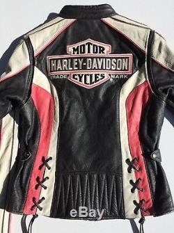 Rare Harley Davidson Ridgeway En Cuir Rose Veste Shield Bar Petit Femmes