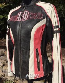 Rare Harley Davidson Ridgeway Rose Veste En Cuir Femmes Grand Bar Bouclier